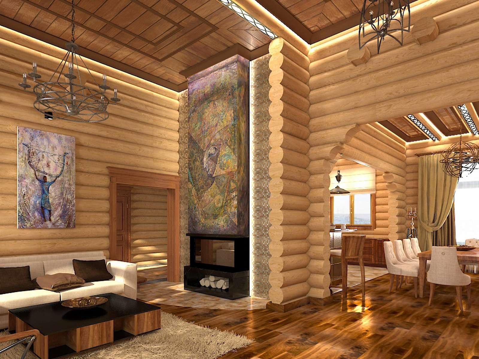 Фото потолка в бревенчатом доме